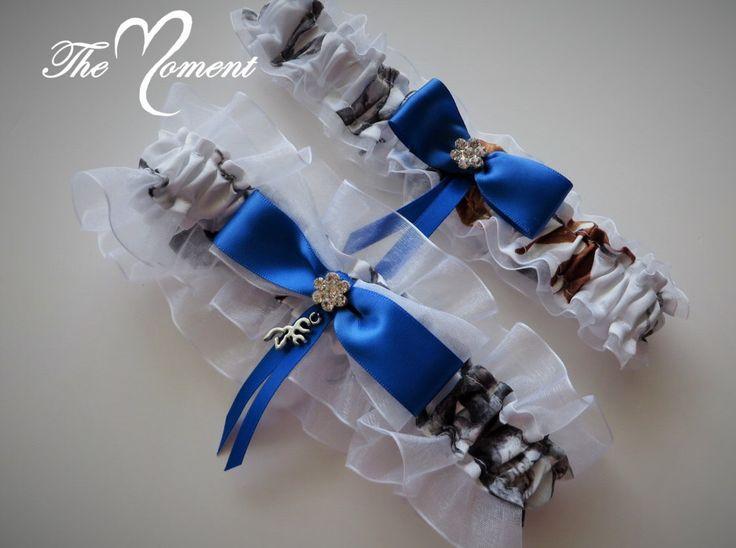 White Camo Garter Set With Royal Blue Something Wedding Bridal