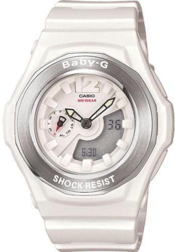 Ladies Casio Baby-G White Rubber Analog Digital Chronograph Watch BGA140-7B