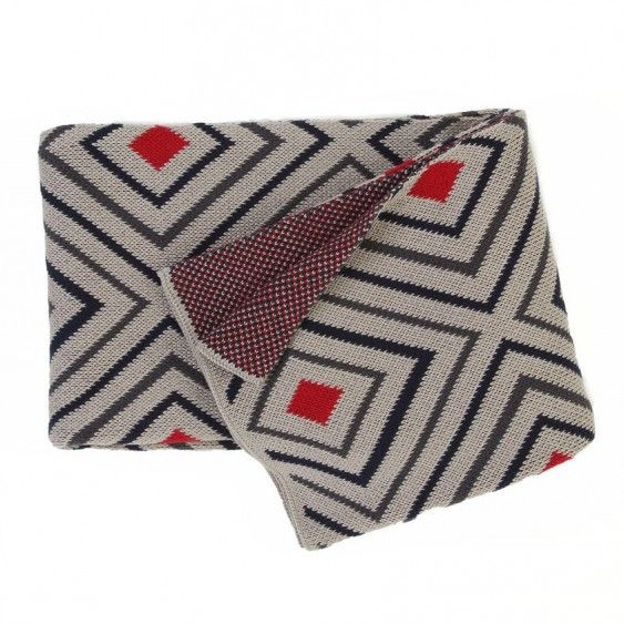 Sherbourne Squares Throw - A soft, heavy throw. Features a geometric retro design and is reversible.