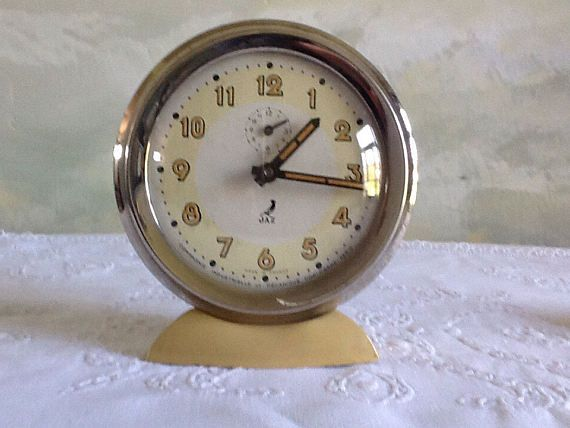 Vintage French non-working alarm clock. Jaz mechanical clock.