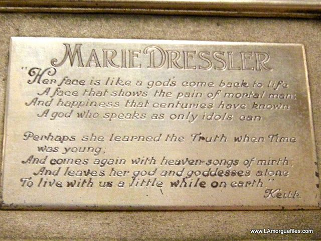 Los Angeles Morgue Files: Actress Marie Dressler 1934 Forest Lawn Glendale