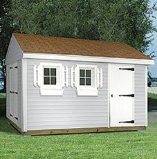 The Newport Shed - Includes delivery and installation. Shown with light gray vinyl siding and brown shingles. Shed sizes starting at 8' x 12'. www.millstores.com