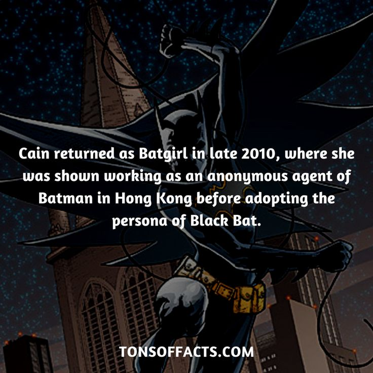Cain returned as Batgirl in late 2010, where she was shown working as an anonymous agent of Batman in Hong Kong before adopting the persona of Black Bat. #cassandracain #tvshow #justiceleague #comics #dccomics #interesting #fact #facts #trivia #superheroes #memes #1 #movies #batman #batgirl