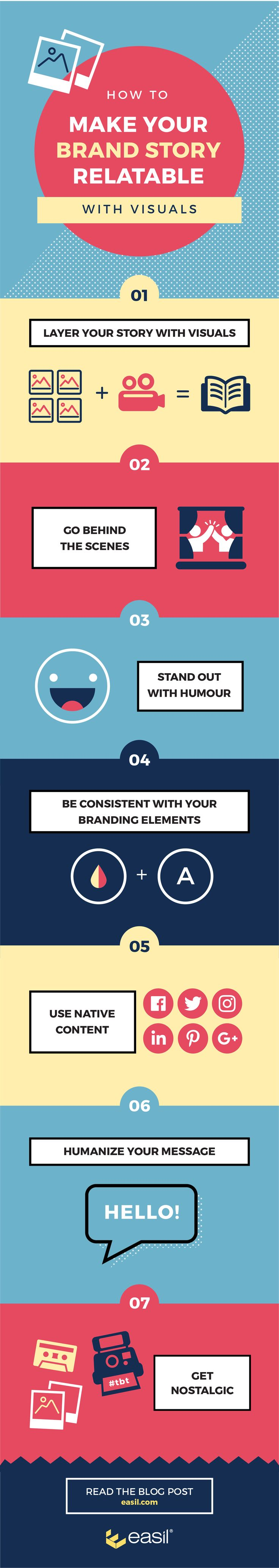 7 tips for making your brand story relatable with graphics infographic