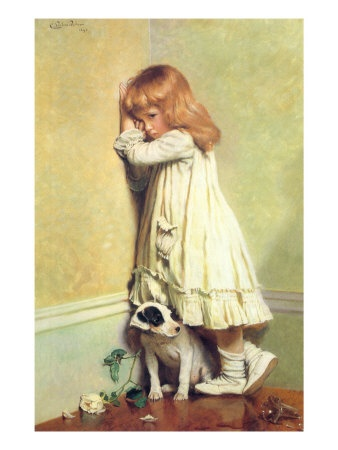 In Disgrace, 1885 by Charles Burton Barber print... Had this in my old house when I was a kid: Charles Burton, Girl, Art, Barbers, Children, Dog, Painting