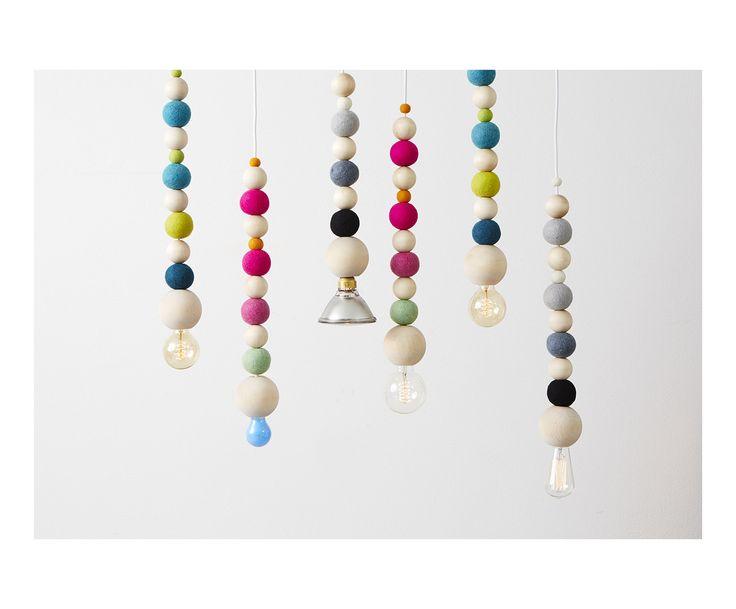 Suspension WOW LAMP bois et laine, rose et vert d'eau - L56 | Westwing Home & Living