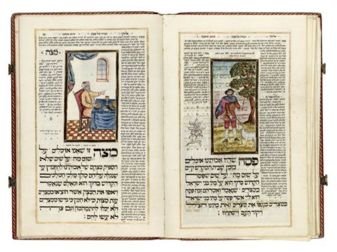 Passover Haggadah, with commentaries Amsterdam, copied and decorated by Hijam Binger'  1796