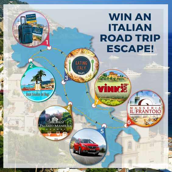 Enter to win a 7 Night Italian Road Trip Escape, valued at over $3,200! One lucky winner will receive 7 nights of accommodation at three prestigious Italian resorts, a food tour in one of Italy's gastronomy capitals, travel accessories as well as expertly written Italian travel guides. Experience the Italian Road Trip Escape of your dreams! Contest ends at 11:59pm on Sat, Aug 6th, 2016.