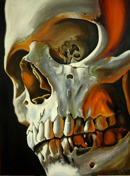 skull by SethBlood. love the warmth added to skull which gives it interesting colour. could do this to hands or other bones