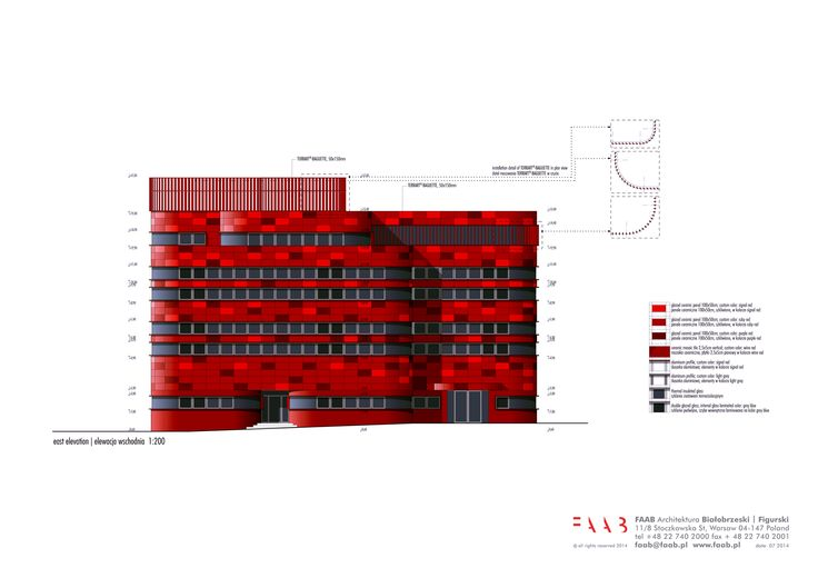 east elevation / new construction and renovation of the Raciborz Regional Blood Center in Raciborz, PL © FAAB Architektura