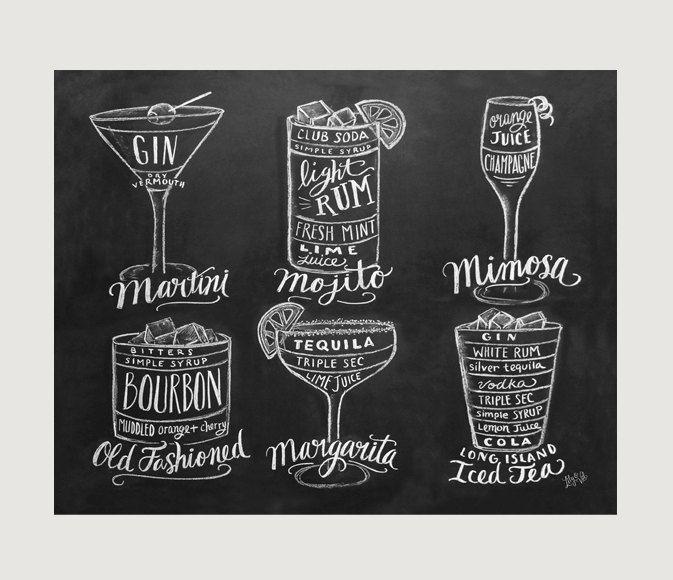 Bartender Gift Cocktails Print Bar Cart Art door LilyandVal