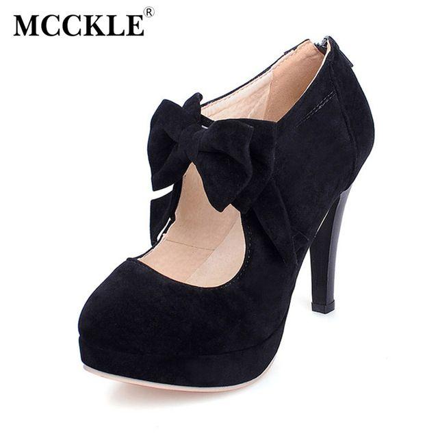 MCCKLE женская мода на высоких каблуках лук галстук обувь почтовый замши платформы повседневная обувь партия сексуальная обувь