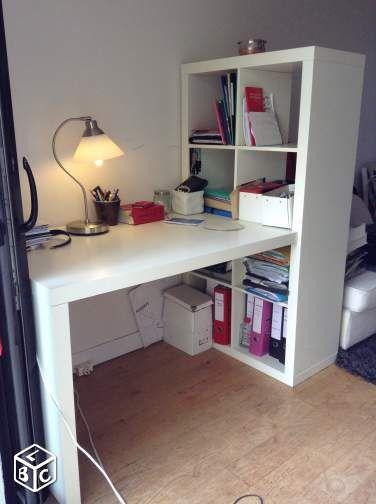 Bureau ik a expedit kallax blanc brillant en tbe for Meuble kallax bureau