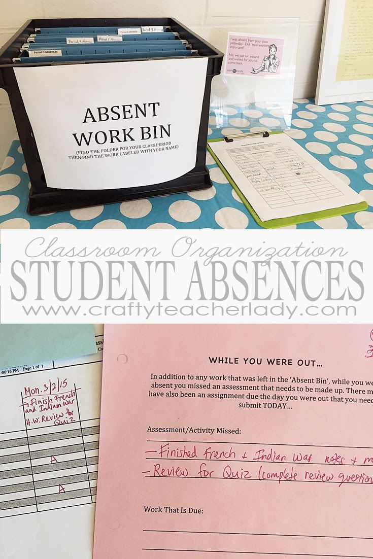 Crafty Teacher Lady: Classroom Organization: Managing Student Absences