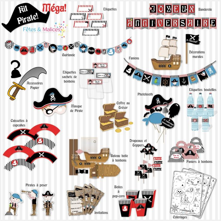 kit à imprimer pirate http://fetesetmalices.com