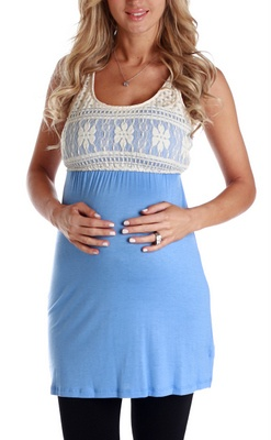 Blue Crochet Top Maternity Tunic, Pink Blush Maternity, cute and affordable maternity clothes.