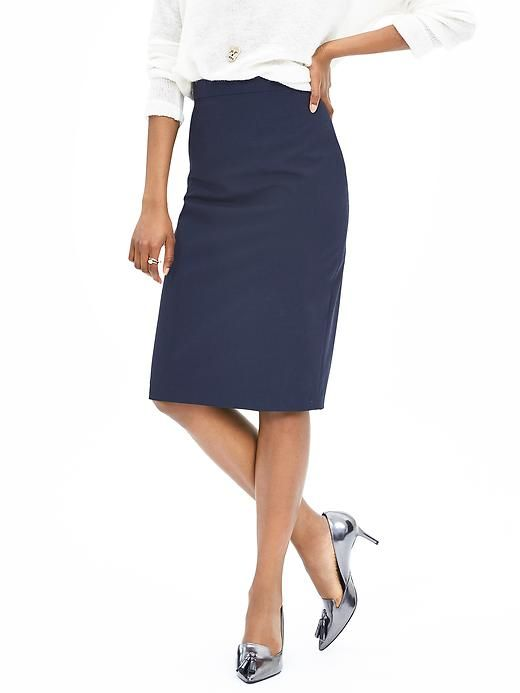 Silver Pumps And A Navy Pencil Skirt Add Just A Little