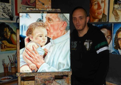 ASTA ECCEZIONALE!! Ritratto di Papa Francesco - Quadro Olio su Tela - 60X70 - Sebastiano Topo
