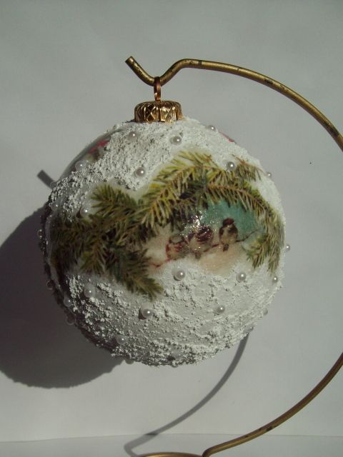 Christmas Ball, decoupage Joanna