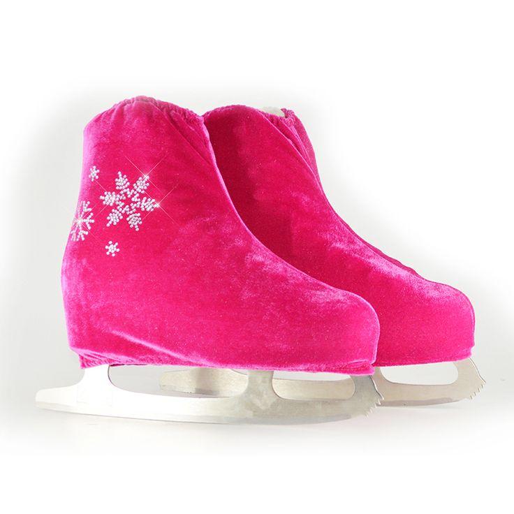 24 Warna Anak Dewasa Beludru Ice Skating Skating Sepatu Sepatu Roda Penutup Warna Solid Aksesoris Atletik Rose Pola Salju Merah