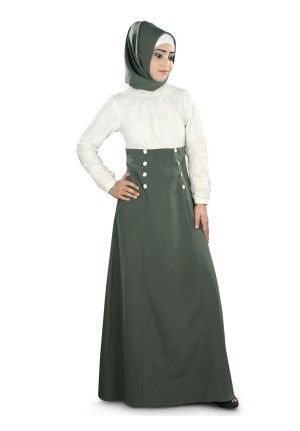 WOMEN'S DUBAI ABAYA :  Color: White & Grey  Fabric: Kashibo & Net (100% polyester)