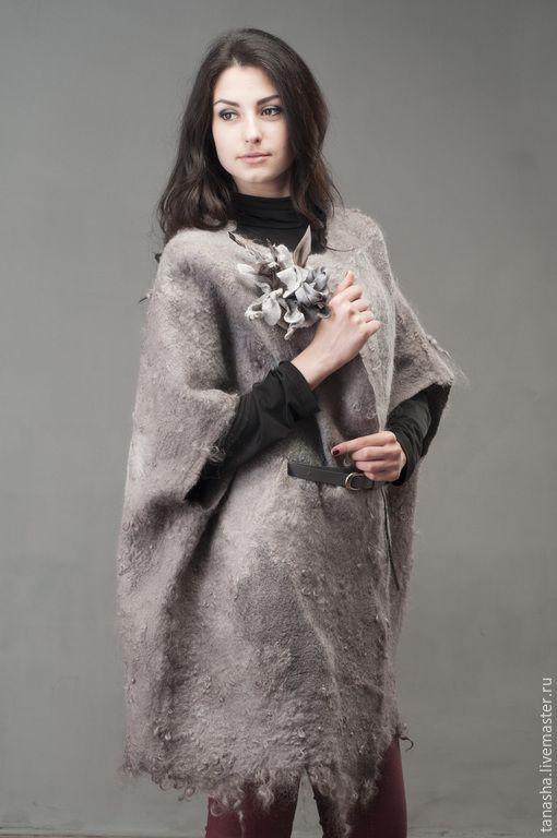 """Купить Куртка накидка валяная (кейп)""""Дымка Лондона..."""" - пальто, куртка, куртка женская, кейп"""