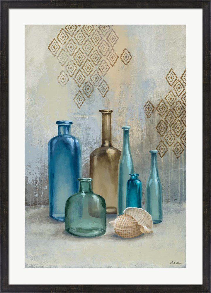 Glass Bottles II by Michael Marcon Framed Art Print Wall Picture, Espresso Brown Frame, 31 x 43 inches