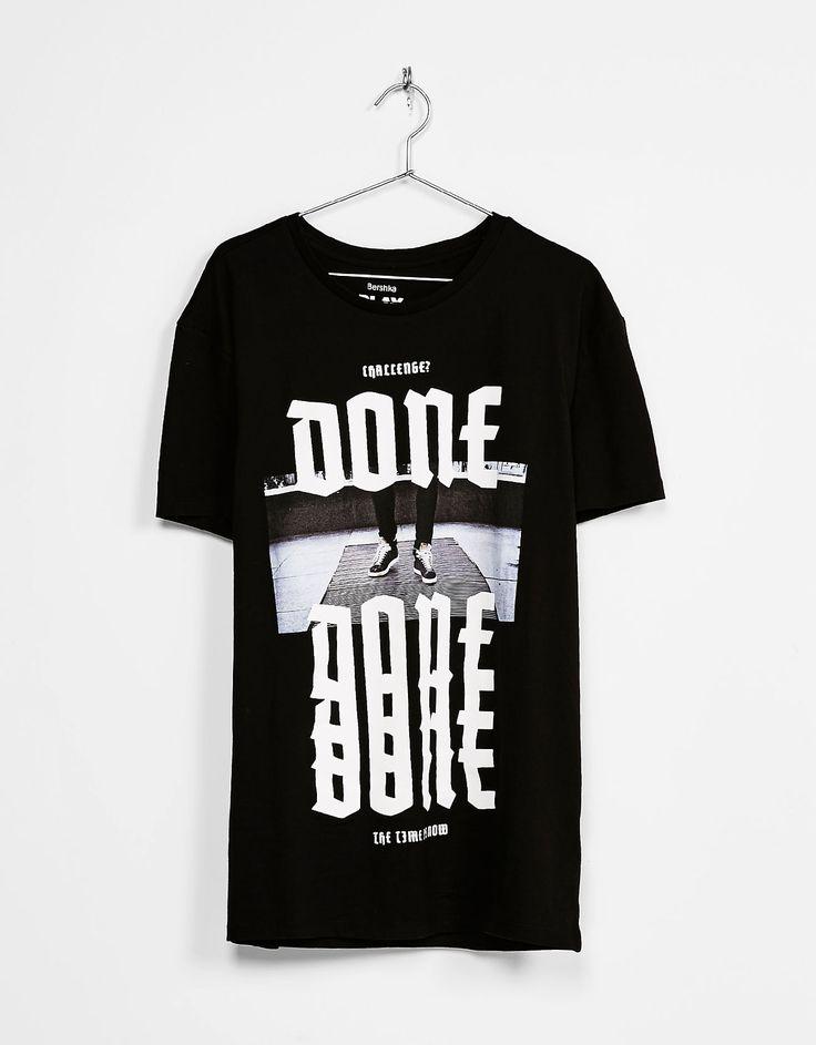 'Street Print' T-shirt - T-Shirts - Bershka United Kingdom