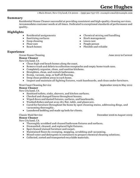 house cleaner resume examples