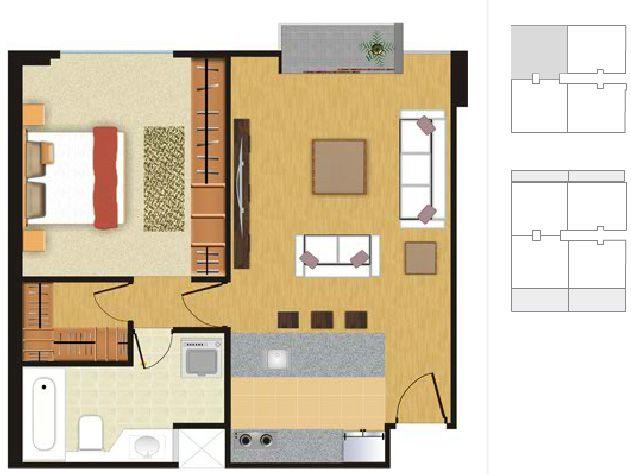 Plano para departamento de soltero by planosdecasas for Departamentos 35 metros cuadrados