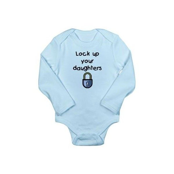 Lock up your daughters Onesie Romper Suit by thedustyzebra|... ($16) ❤ liked on Polyvore featuring babies, baby boy, baby boy clothes and kids