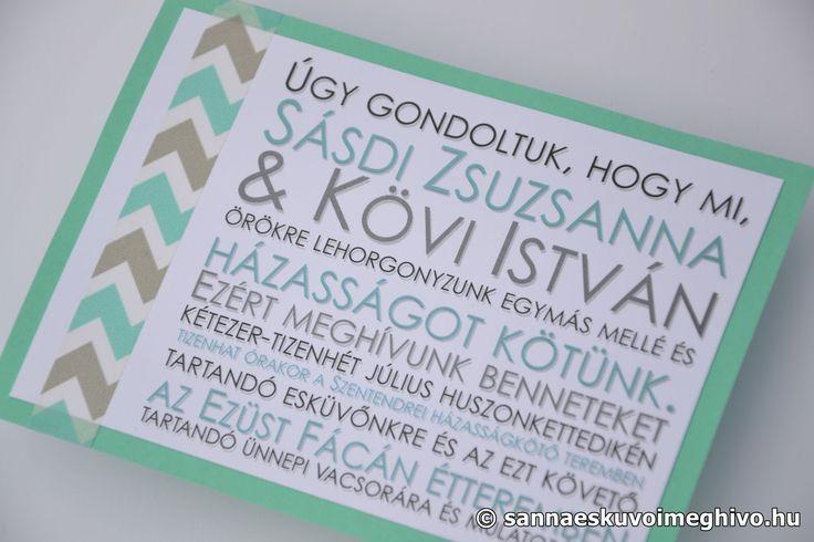 Pisztácia esküvői meghívó, meghívó, zöld esküvői meghívó, szürke esküvői meghívó, sannaeskuvoimeghivo, egyedi esküvői meghívó, wedding card