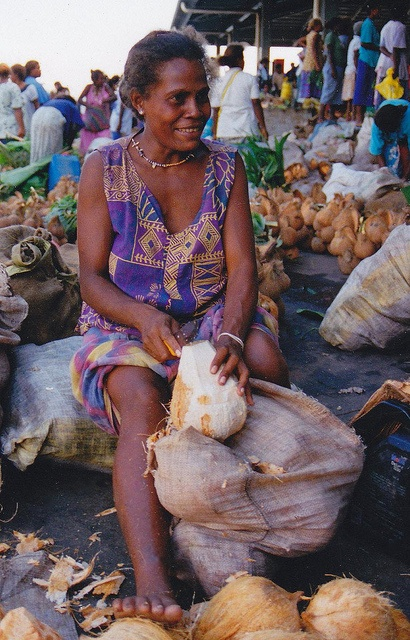 Fresh coconut vendors at the Honiara Central Market