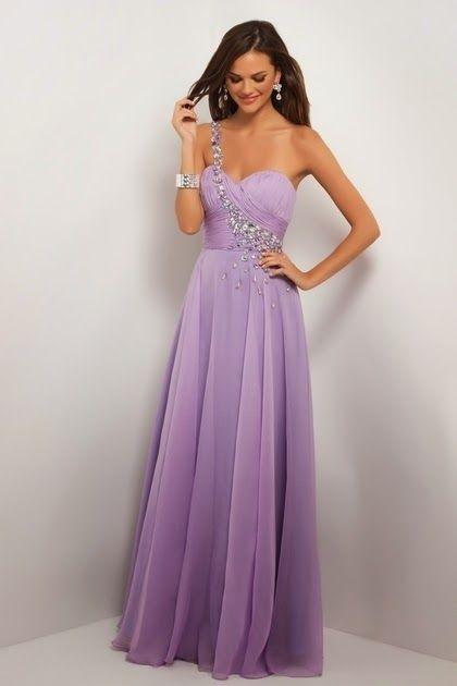 Vestidos de fiesta lila largos