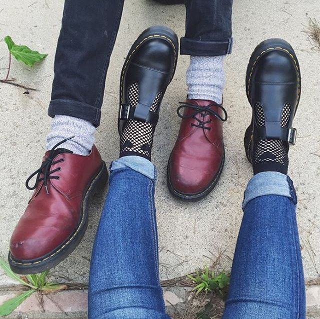 Double docs. Cherry red 1461 shoe and the Bethan in black. Shared by littlemonst3r on Tumblr. #drmartenstyle
