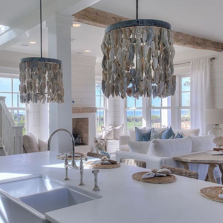 Obsessed with these oyster shell chandeliers from @beauhomeinteriors! Tag me at @our_coastal_farmhouse with your best oyster shell design! #interiordesign #coastalfarmhouse #farmhouse #oystershells