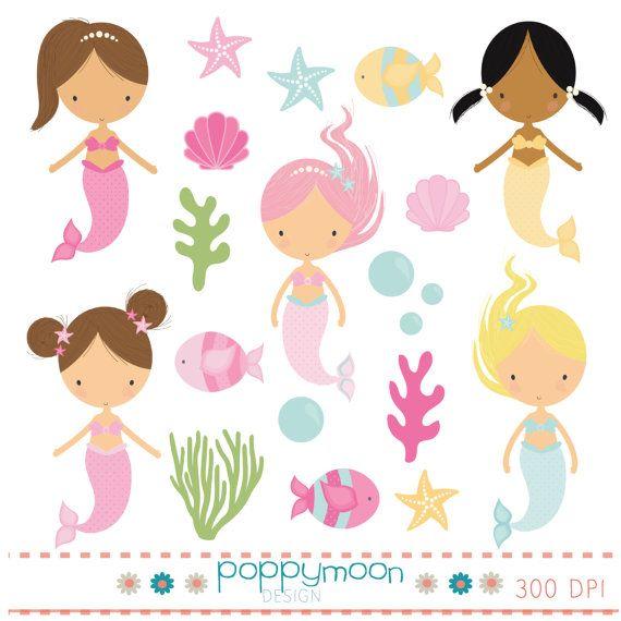 Mermaids digital clip art set by poppymoondesign on Etsy