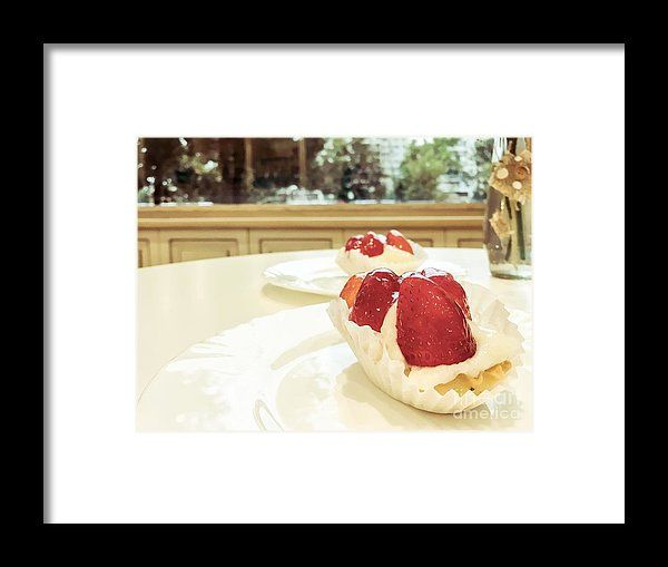Strawberry Cake Served In Cafeteria Framed Print