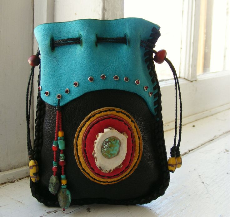LA FONDA Deerskin Leather Medicine BAG Spirit Pouch with antique trade beads, Turquoise, Antler inlay. $92.00, via Etsy.
