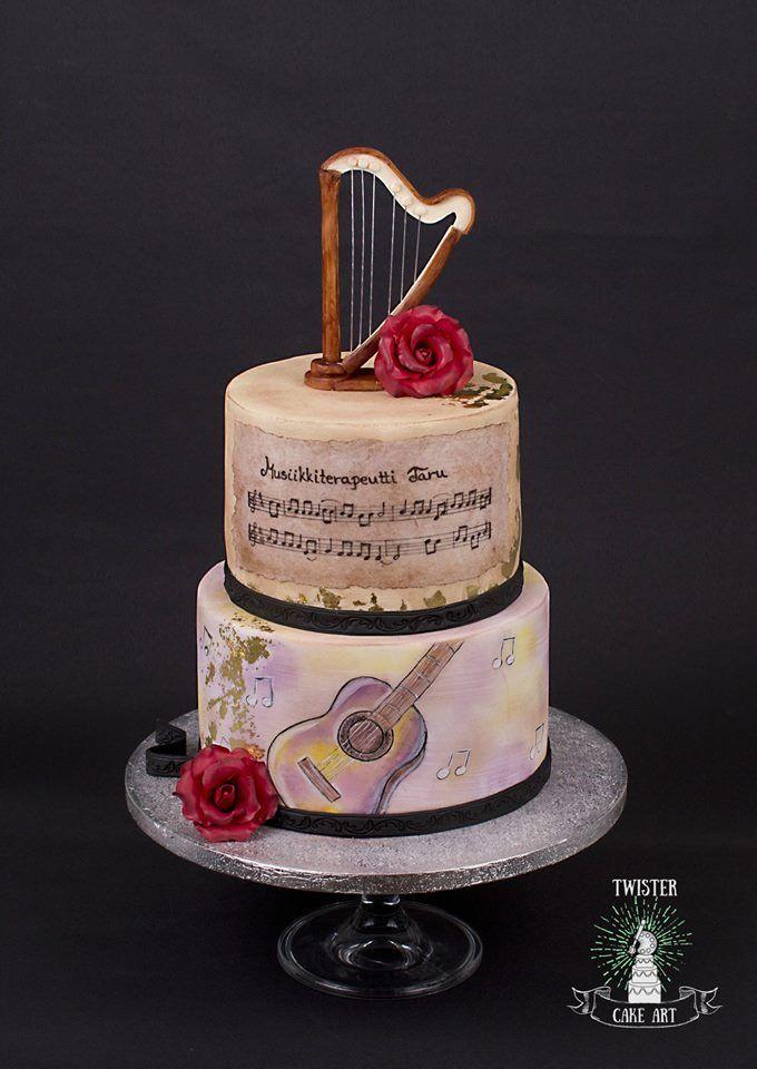 Musiikki kakku, harp music cake