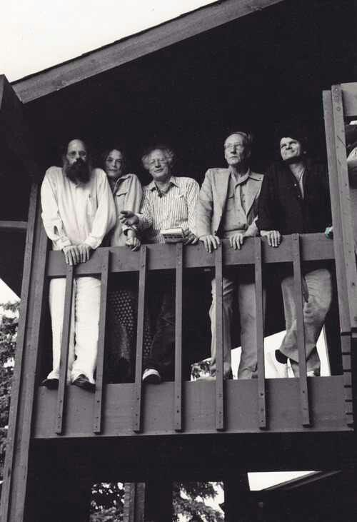 Allen Ginsberg, Anne Waldman, Robert Bly, William S Burroughs, and Gregory Corso, 1973, photo by Rachel Homer