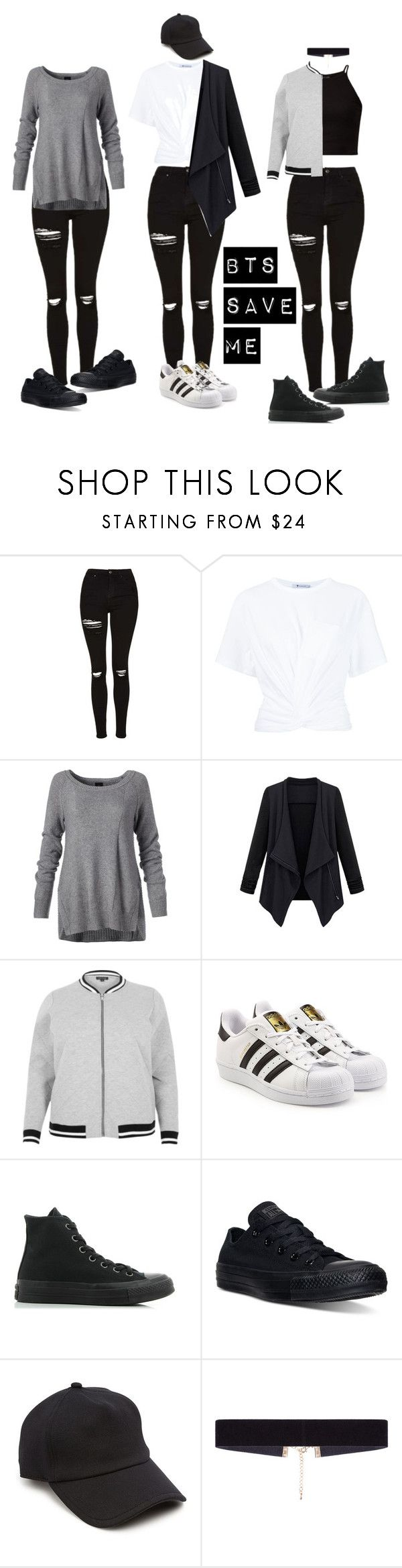 """BTS Save Me Outfit"" by michelycolon on Polyvore featuring moda, Topshop, T By Alexander Wang, River Island, adidas Originals, Converse, rag & bone y 8 Other Reasons"