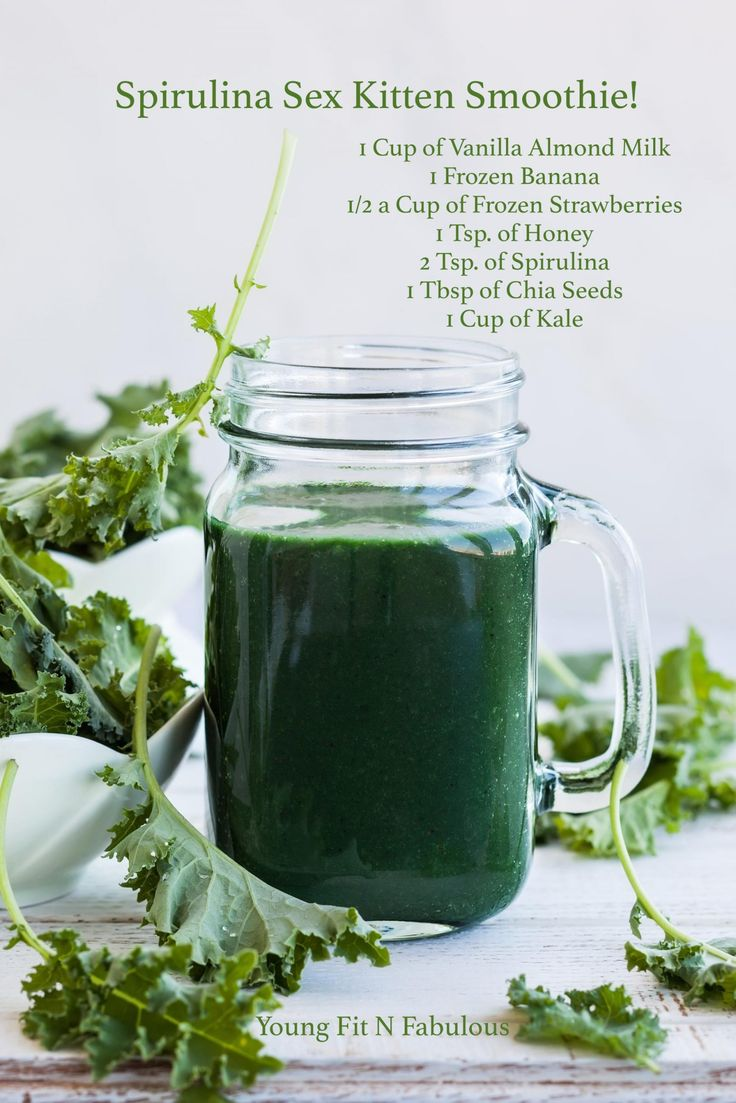 This delicious Spirulina Sex Kitten Smoothie is filled with healthy superfoods to help you lose weight, get healthy, and detox!