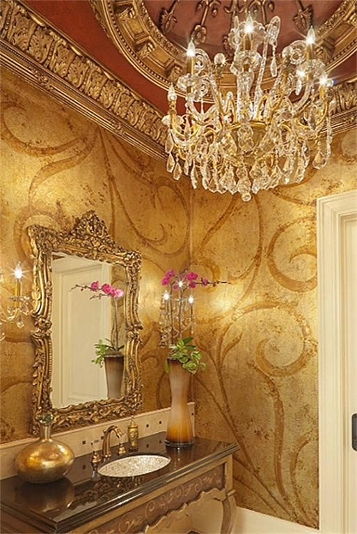 Lavish downstairs POWDER ROOM is a work of art w/ exquisite hand painted walls and ceiling.Custom built console w/ hand painted details and Mother of Pearl inlaid sink.Elaborate dome ceiling treatment, crystal chandelier, 2 crystal sconces.