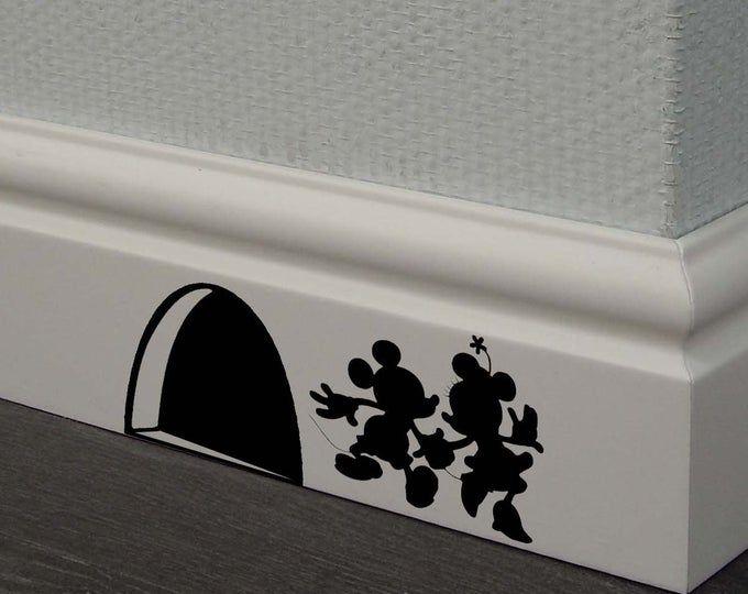 Cinderella 3 mice Decal,Disney Home Decor,Disney Wall Decal,Disney Wall Sticker,Kids Wall Decal,Kitchen Decal,skirting board decals