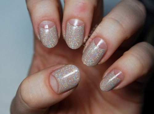 Nude/Holographic half moon mani, gotta try that sometime!