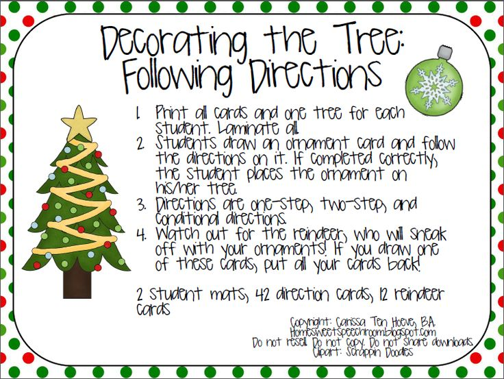 Freebie! Decorating the Tree: Following Directions. Repinned by SOS Inc. Resources. Follow all our boards at pinterest.com/sostherapy/ for therapy resources.
