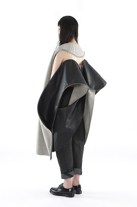 Sculptural Fashion with contrasting fabrics & a bold curling structure - wearable art; experimental 3D fashion // Louise Bennetts