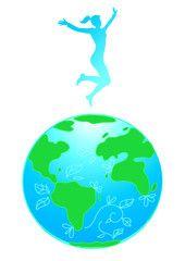 Ecologia: donna salta su un mondo ecostenibile