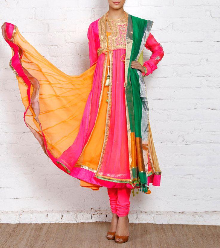 Pink Embroidered Chiffon Anarkali Suit
